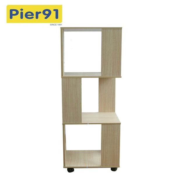 Economic Home Wooden Book Rack Three Panels Hollow Design With 4 Wheels