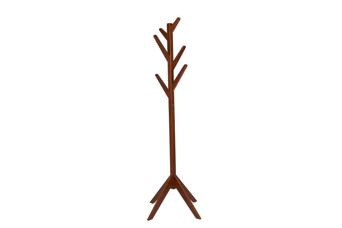 Home Walnut Wooden Coat Hanger Stand 6 Hooks Smooth For Protecting Clothes