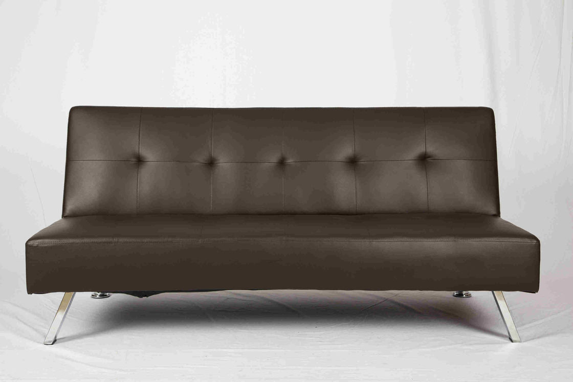 Living Room Leather Pull Out Couch Plating Feet Ergonomic For Saving Space