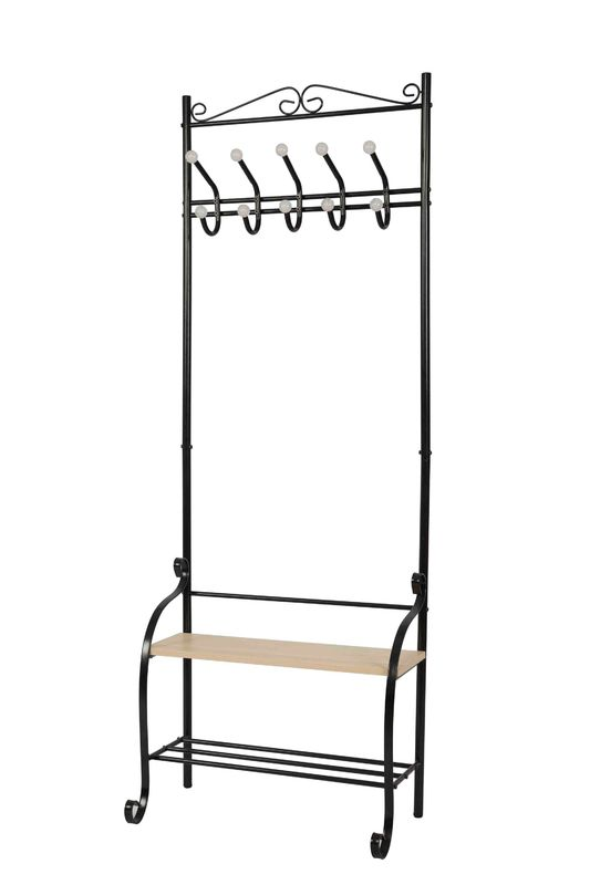 Bench Shoes Shelves Free Standing Coat Hanger  For Hanging Bags / Hats Bedroom