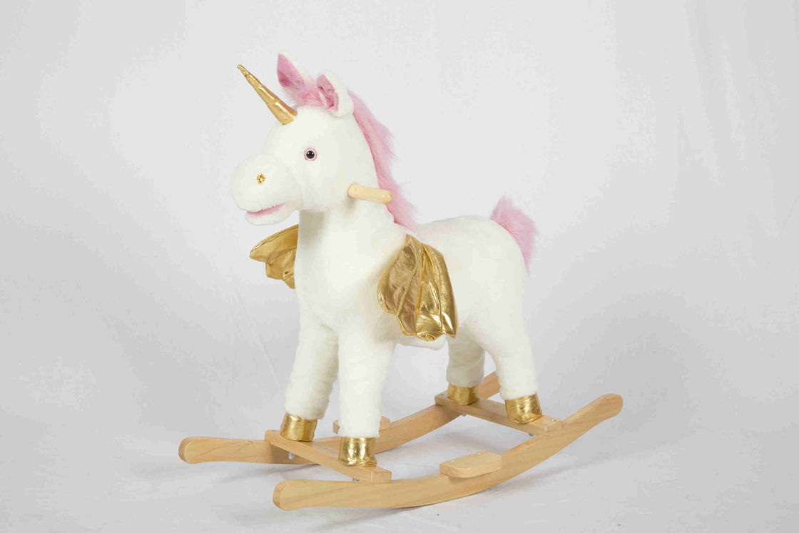 White Toddler Wooden Toys Rocking Horse Unicorn For High Rack Stuffed Animal Seat
