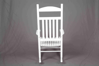 White Rocking Chair Wooden Outdoor Furniture Hollow Design For Relaxing